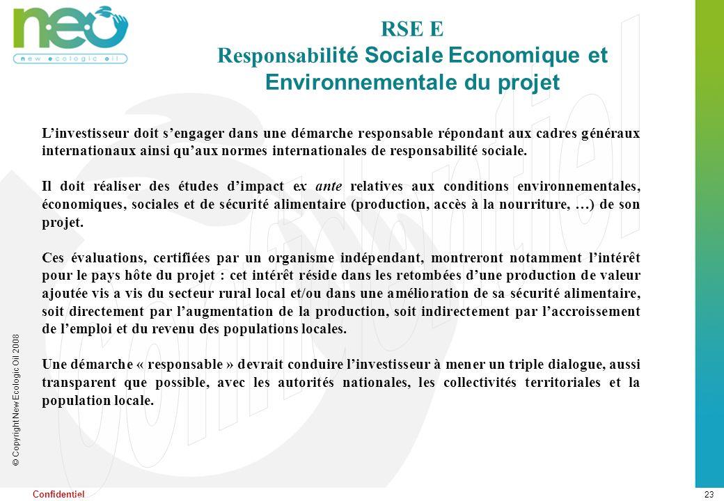 23 © Copyright New Ecologic Oil 2008 Confidentiel RSE E Responsabil ité Sociale Economique et Environnementale du projet Linvestisseur doit sengager d