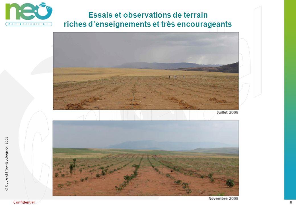 8 © Copyright New Ecologic Oil 2008 Confidentiel Essais et observations de terrain riches denseignements et très encourageants