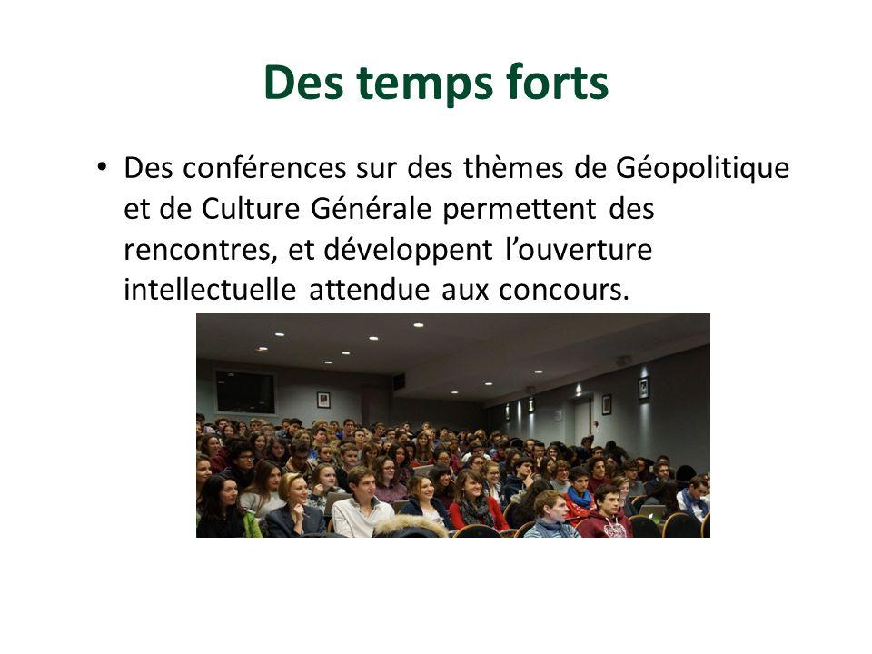 Des temps forts Des conférences sur des thèmes de Géopolitique et de Culture Générale permettent des rencontres, et développent louverture intellectue