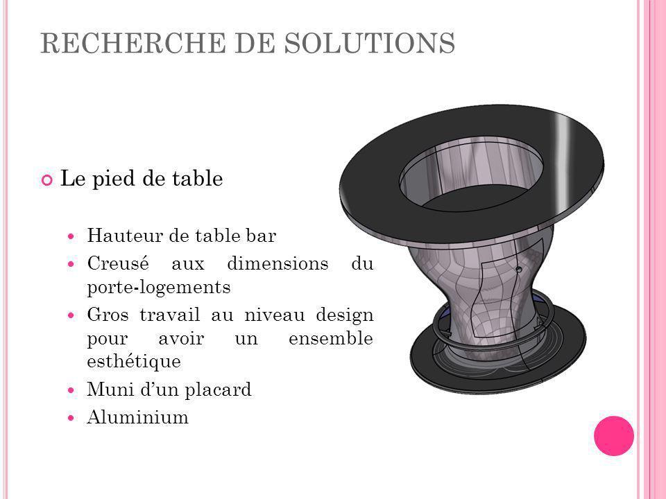 RECHERCHE DE SOLUTIONS Le pied de table Hauteur de table bar Creusé aux dimensions du porte-logements Gros travail au niveau design pour avoir un ense