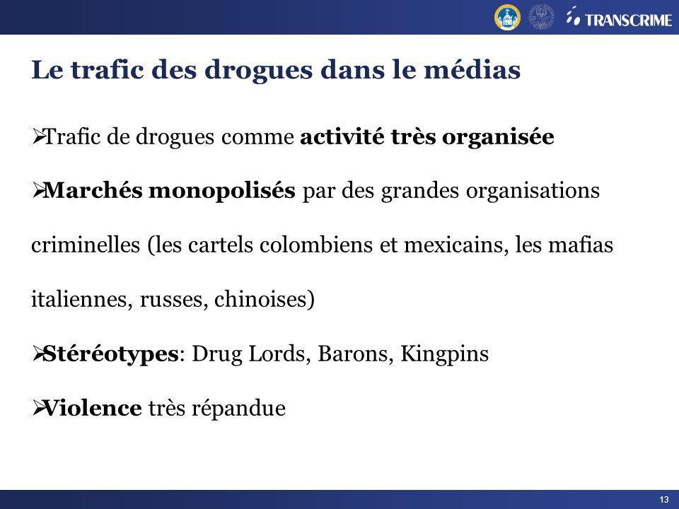 13 Le trafic des drogues dans le médias Trafic de drogues comme activité très organisée Marchés monopolisés par des grandes organisations criminelles