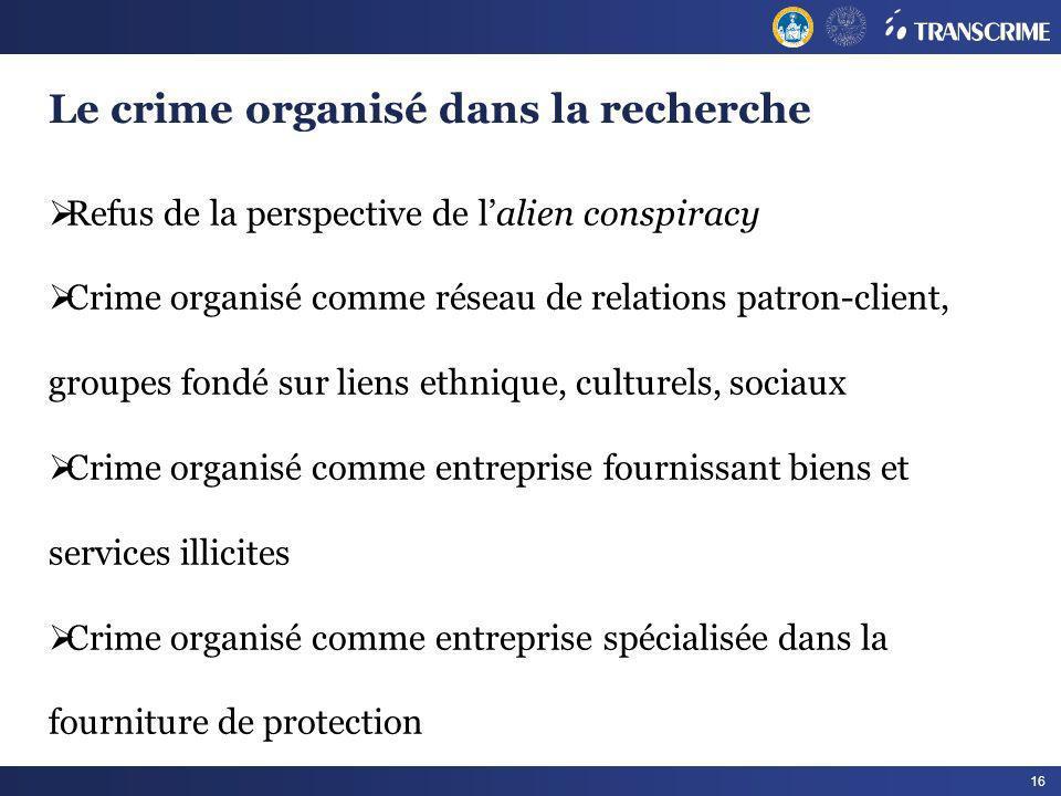 16 Le crime organisé dans la recherche Refus de la perspective de lalien conspiracy Crime organisé comme réseau de relations patron-client, groupes fo
