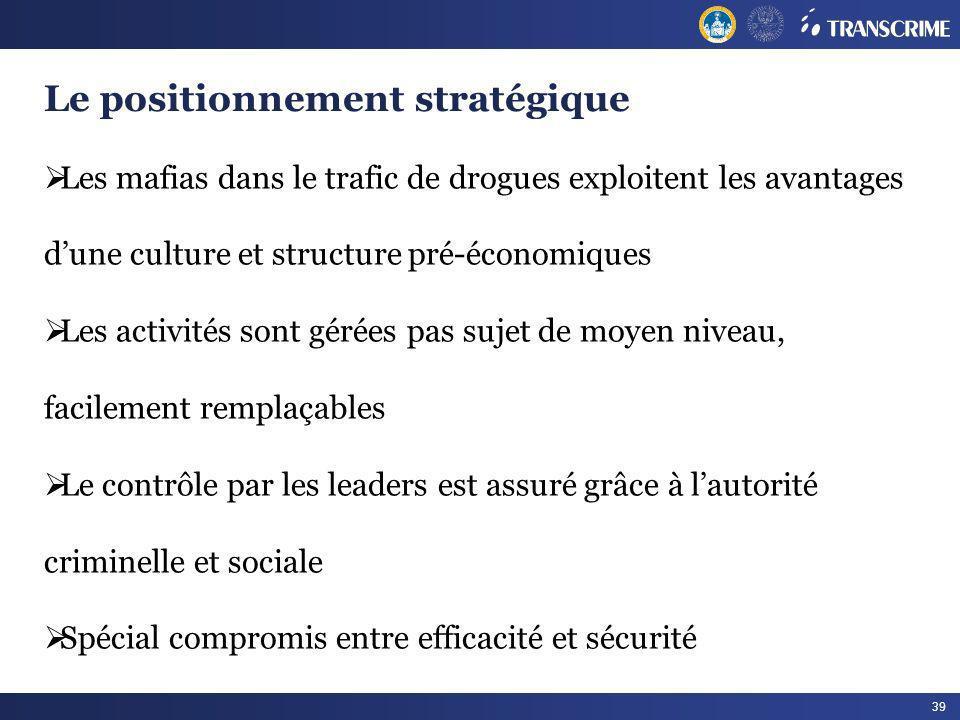 39 Le positionnement stratégique Les mafias dans le trafic de drogues exploitent les avantages dune culture et structure pré-économiques Les activités