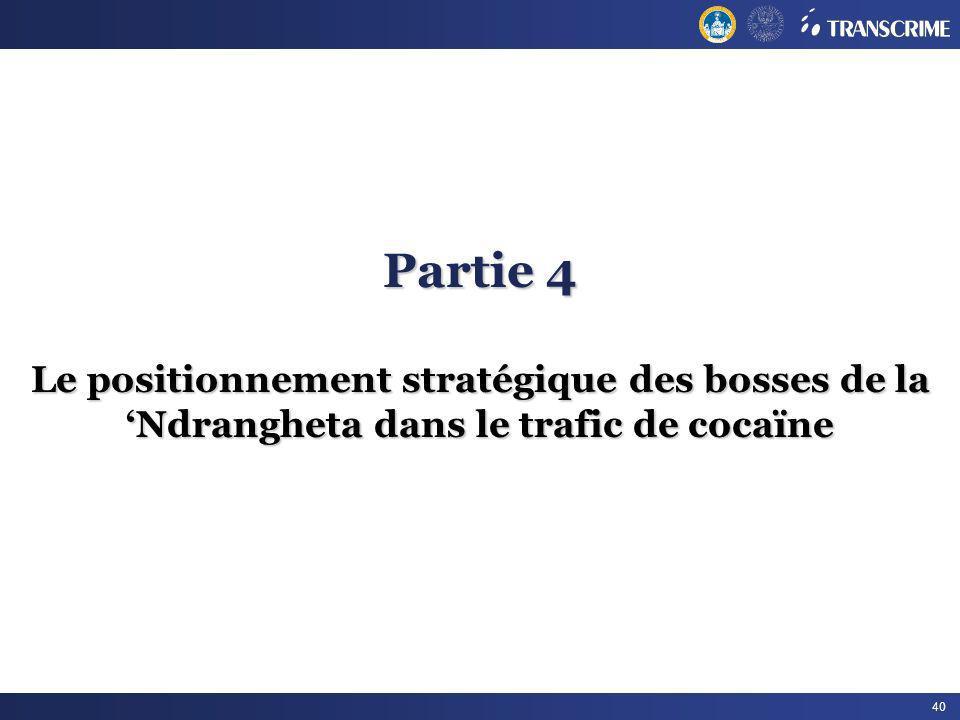 40 Partie 4 Le positionnement stratégique des bosses de la Ndrangheta dans le trafic de cocaïne