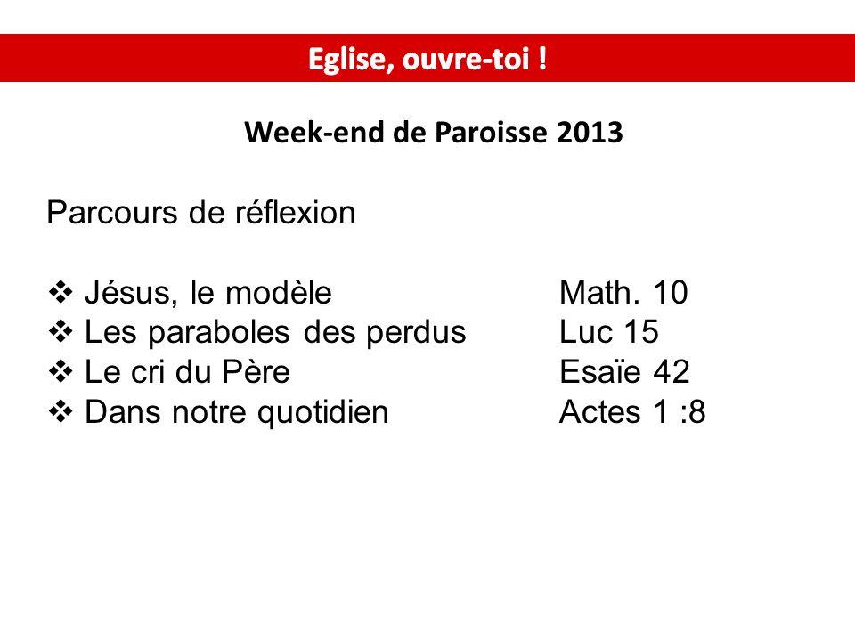 Week-end de Paroisse 2013 Parcours de réflexion Jésus, le modèleMath.