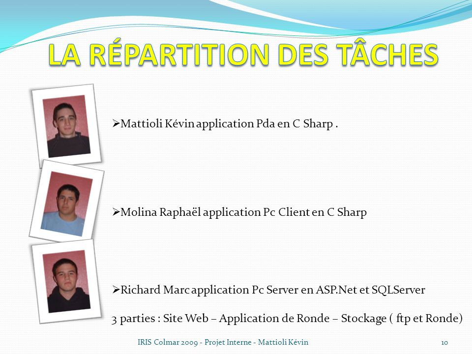 IRIS Colmar 2009 - Projet Interne - Mattioli Kévin10 Mattioli Kévin application Pda en C Sharp. Molina Raphaël application Pc Client en C Sharp Richar