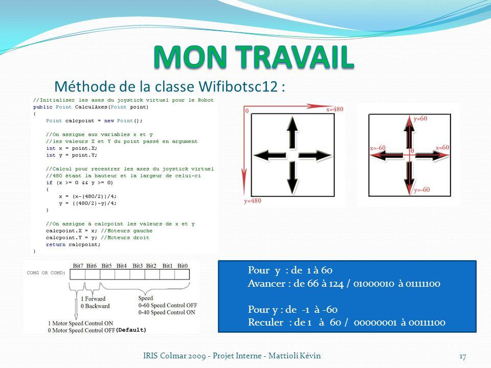 17 Méthode de la classe Wifibotsc12 : Pour y : de 1 à 60 Avancer : de 66 à 124 / 01000010 à 01111100 Pour y : de -1 à -60 Reculer : de 1 à 60 / 000000