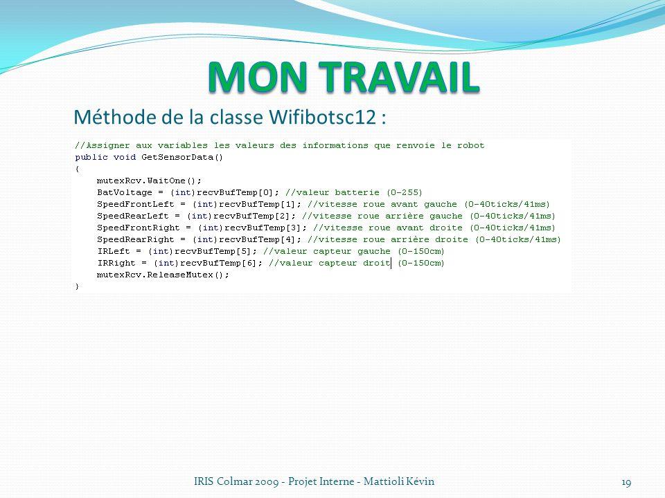 IRIS Colmar 2009 - Projet Interne - Mattioli Kévin19 Méthode de la classe Wifibotsc12 :