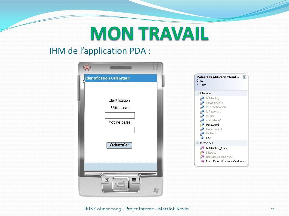 IRIS Colmar 2009 - Projet Interne - Mattioli Kévin21 IHM de lapplication PDA :