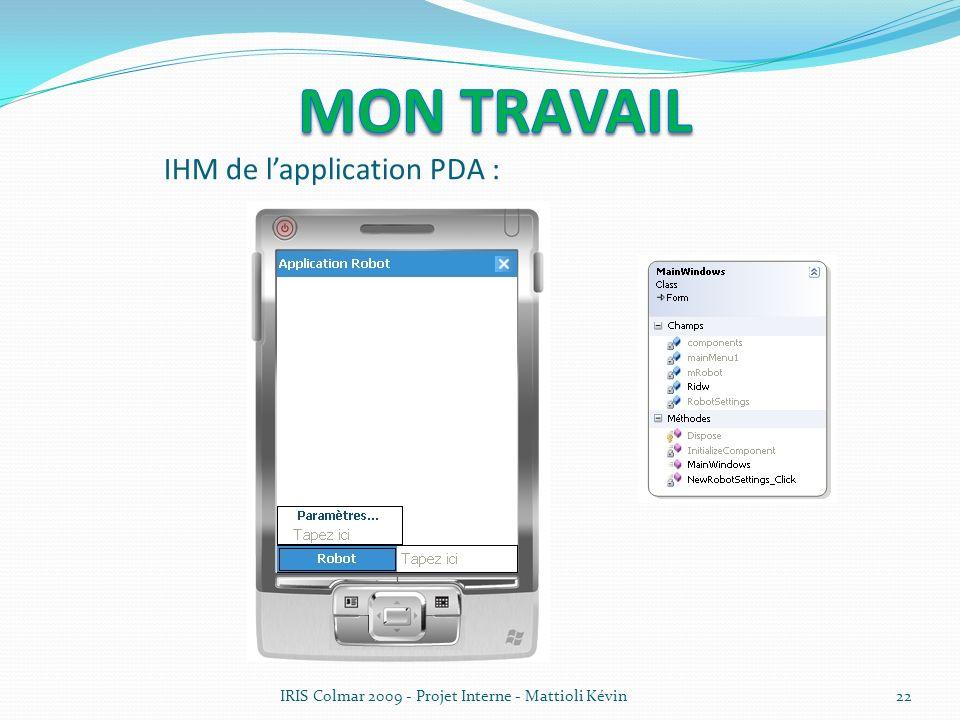 IRIS Colmar 2009 - Projet Interne - Mattioli Kévin22 IHM de lapplication PDA :