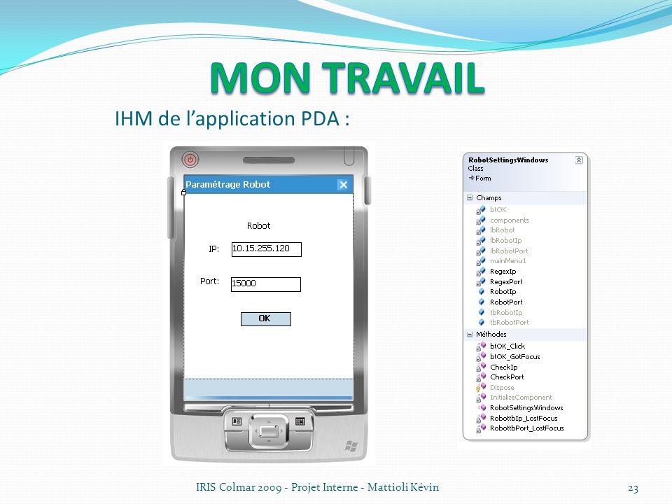 IRIS Colmar 2009 - Projet Interne - Mattioli Kévin23 IHM de lapplication PDA :