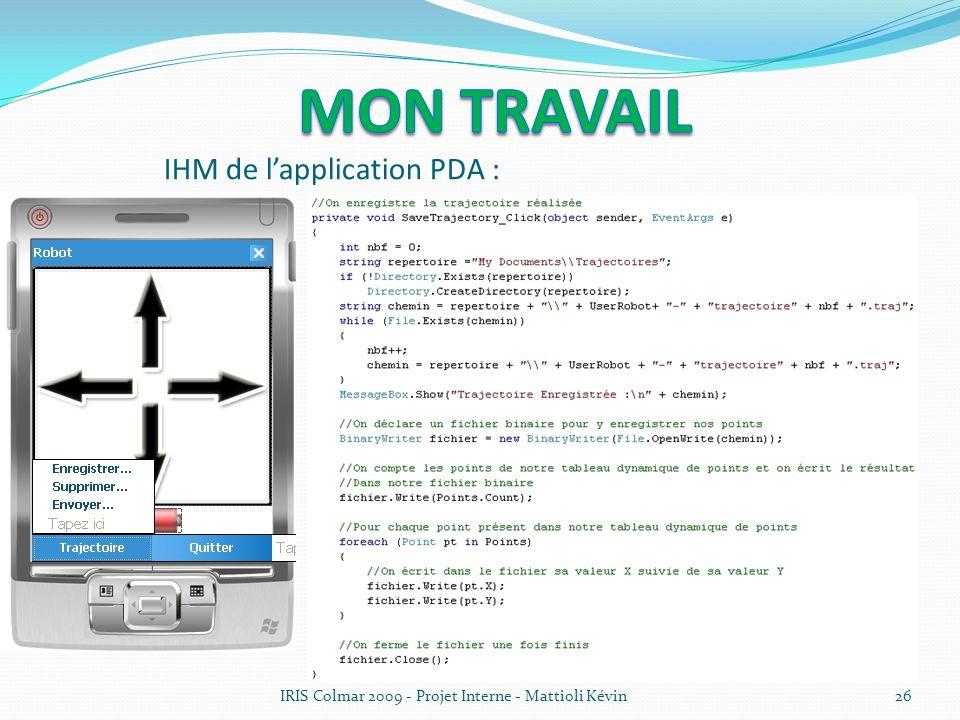IRIS Colmar 2009 - Projet Interne - Mattioli Kévin26 IHM de lapplication PDA :