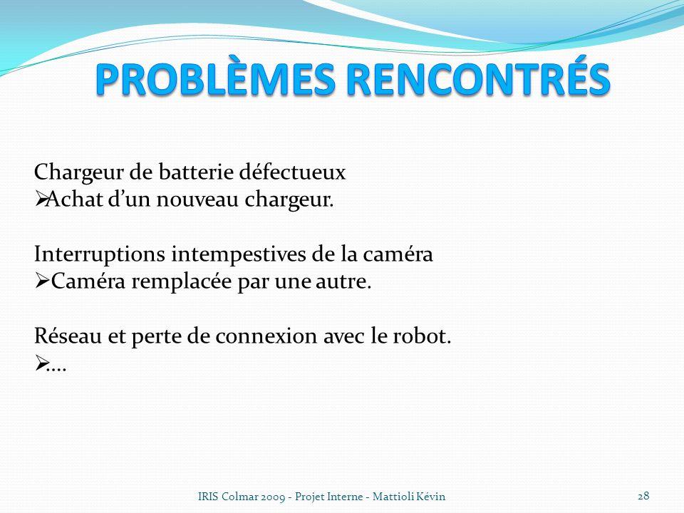 IRIS Colmar 2009 - Projet Interne - Mattioli Kévin 28 Chargeur de batterie défectueux Achat dun nouveau chargeur. Interruptions intempestives de la ca