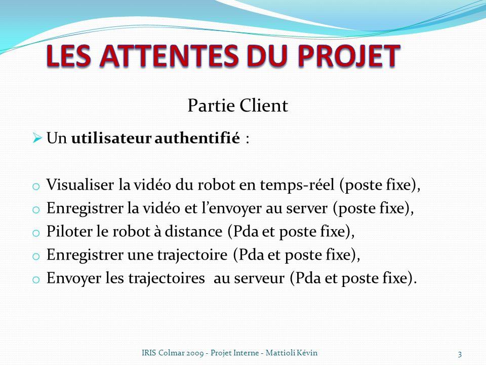 3 Un utilisateur authentifié : o Visualiser la vidéo du robot en temps-réel (poste fixe), o Enregistrer la vidéo et lenvoyer au server (poste fixe), o
