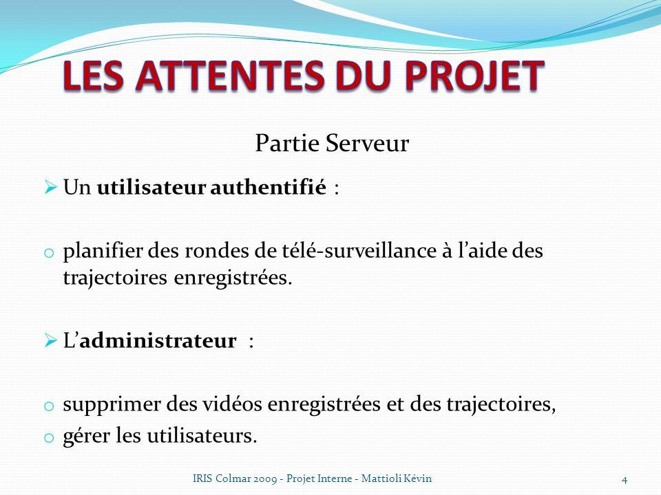 Un utilisateur authentifié : o planifier des rondes de télé-surveillance à laide des trajectoires enregistrées. Ladministrateur : o supprimer des vidé