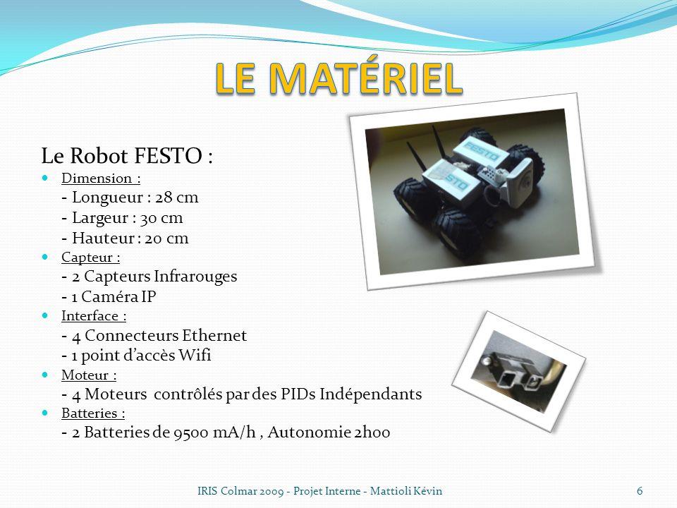 Le Robot FESTO : Dimension : - Longueur : 28 cm - Largeur : 30 cm - Hauteur : 20 cm Capteur : - 2 Capteurs Infrarouges - 1 Caméra IP Interface : - 4 C