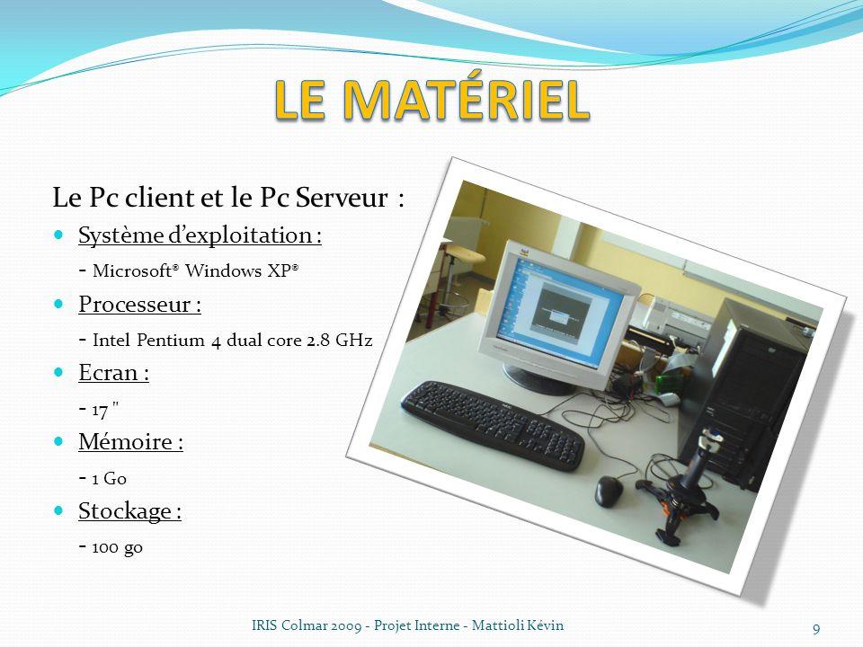 IRIS Colmar 2009 - Projet Interne - Mattioli Kévin 9 Le Pc client et le Pc Serveur : Système dexploitation : - Microsoft® Windows XP® Processeur : - I