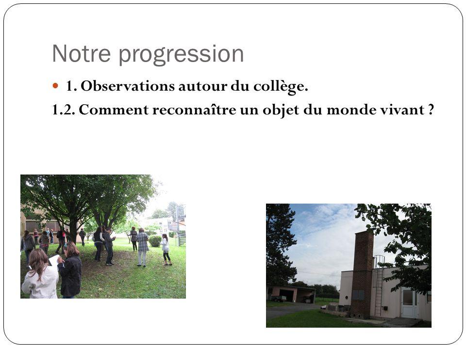 Notre progression 1. Observations autour du collège. 1.2. Comment reconnaître un objet du monde vivant ?