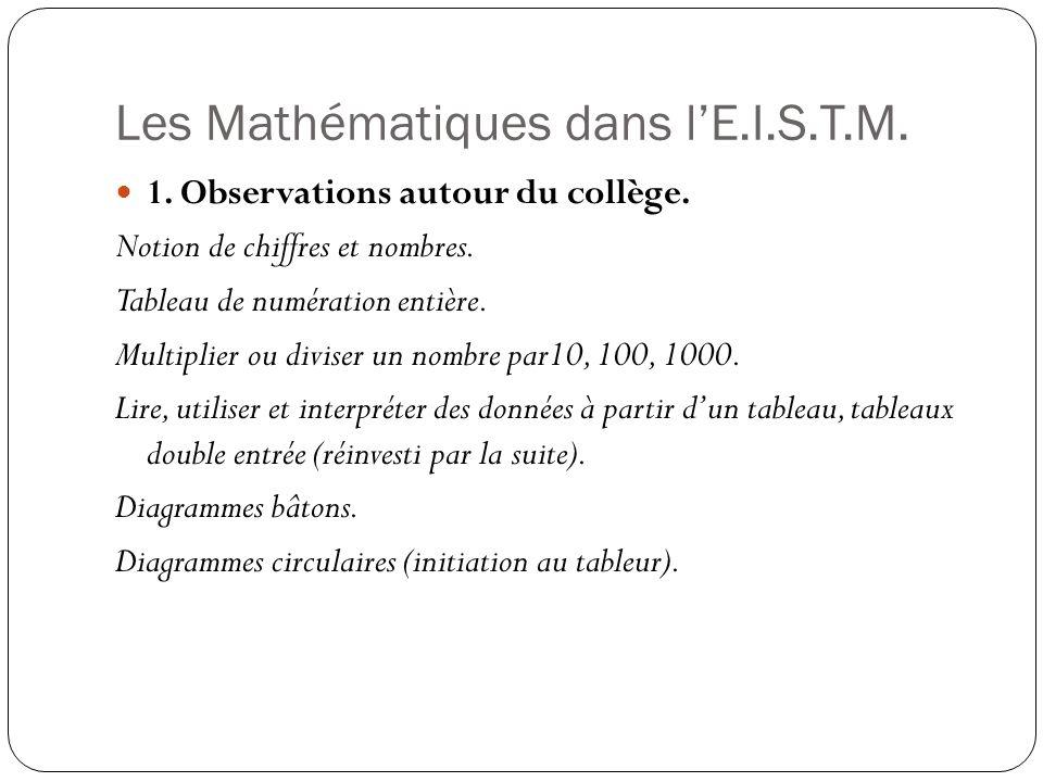 Les Mathématiques dans lE.I.S.T.M. 1. Observations autour du collège. Notion de chiffres et nombres. Tableau de numération entière. Multiplier ou divi