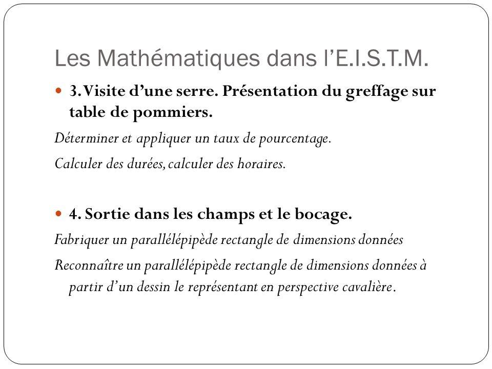 Les Mathématiques dans lE.I.S.T.M. 3. Visite dune serre. Présentation du greffage sur table de pommiers. Déterminer et appliquer un taux de pourcentag