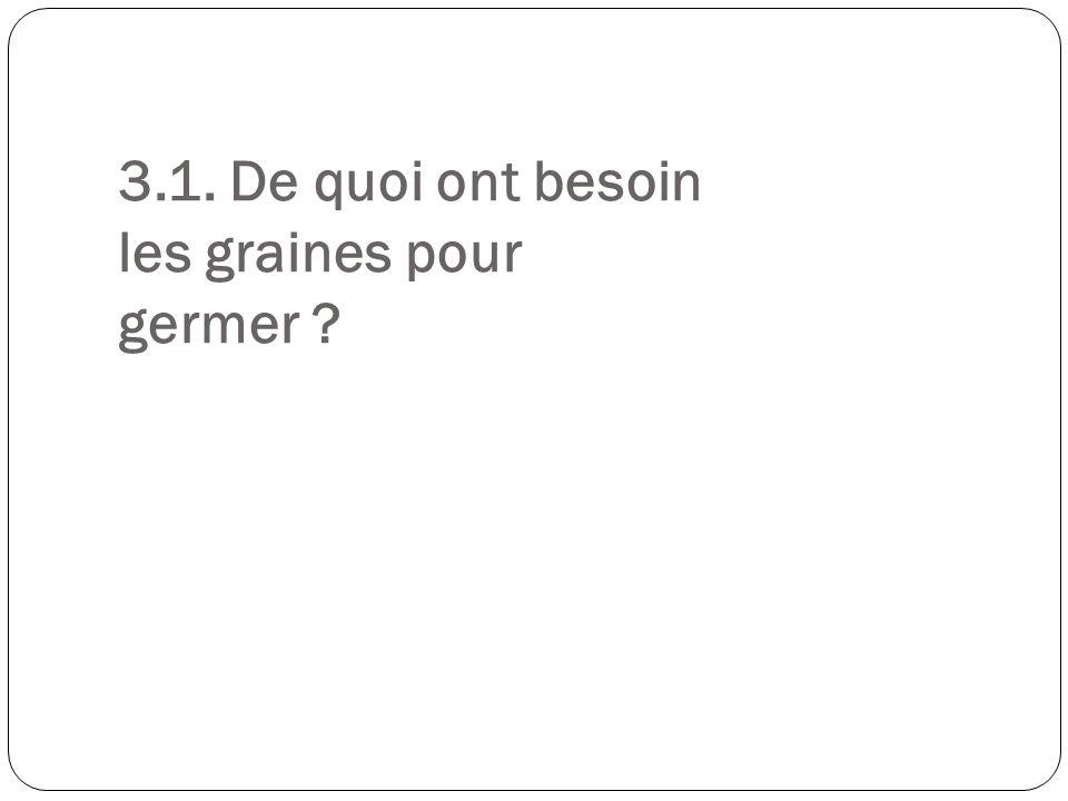3.1. De quoi ont besoin les graines pour germer ?