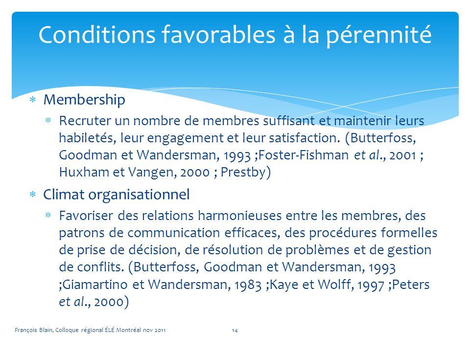 Membership Recruter un nombre de membres suffisant et maintenir leurs habiletés, leur engagement et leur satisfaction.