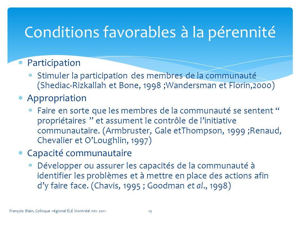 Participation Stimuler la participation des membres de la communauté (Shediac-Rizkallah et Bone, 1998 ;Wandersman et Florin,2000) Appropriation Faire en sorte que les membres de la communauté se sentent propriétaires et assument le contrôle de linitiative communautaire.