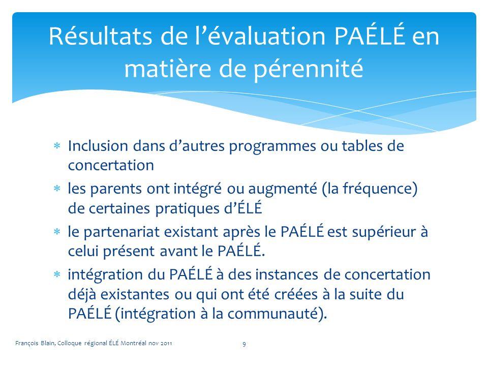 Inclusion dans dautres programmes ou tables de concertation les parents ont intégré ou augmenté (la fréquence) de certaines pratiques dÉLÉ le partenariat existant après le PAÉLÉ est supérieur à celui présent avant le PAÉLÉ.