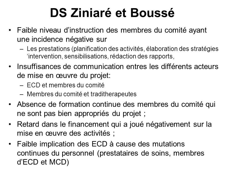 DS Ziniaré et Boussé Faible niveau dinstruction des membres du comité ayant une incidence négative sur –Les prestations (planification des activités,