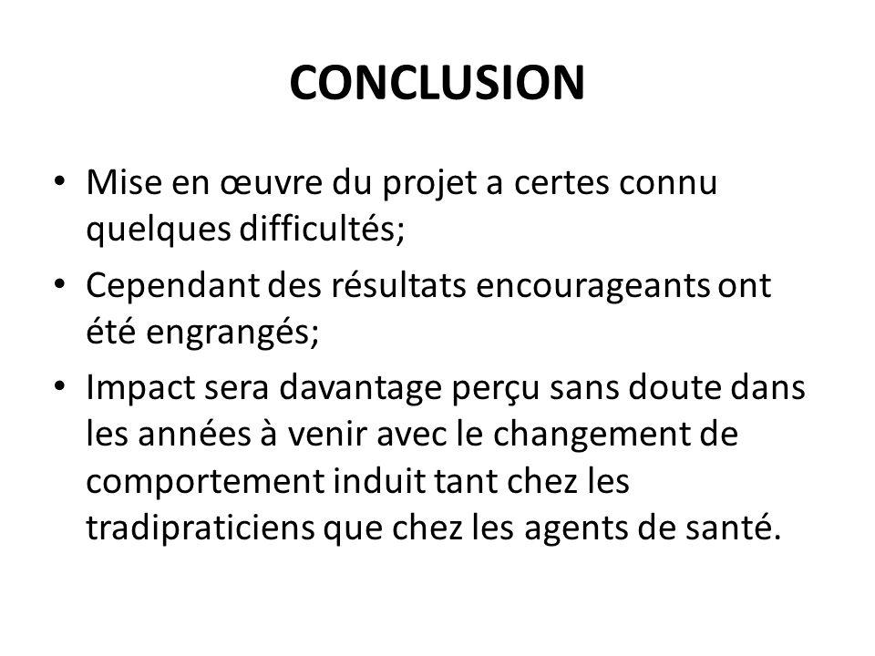 CONCLUSION Mise en œuvre du projet a certes connu quelques difficultés; Cependant des résultats encourageants ont été engrangés; Impact sera davantage