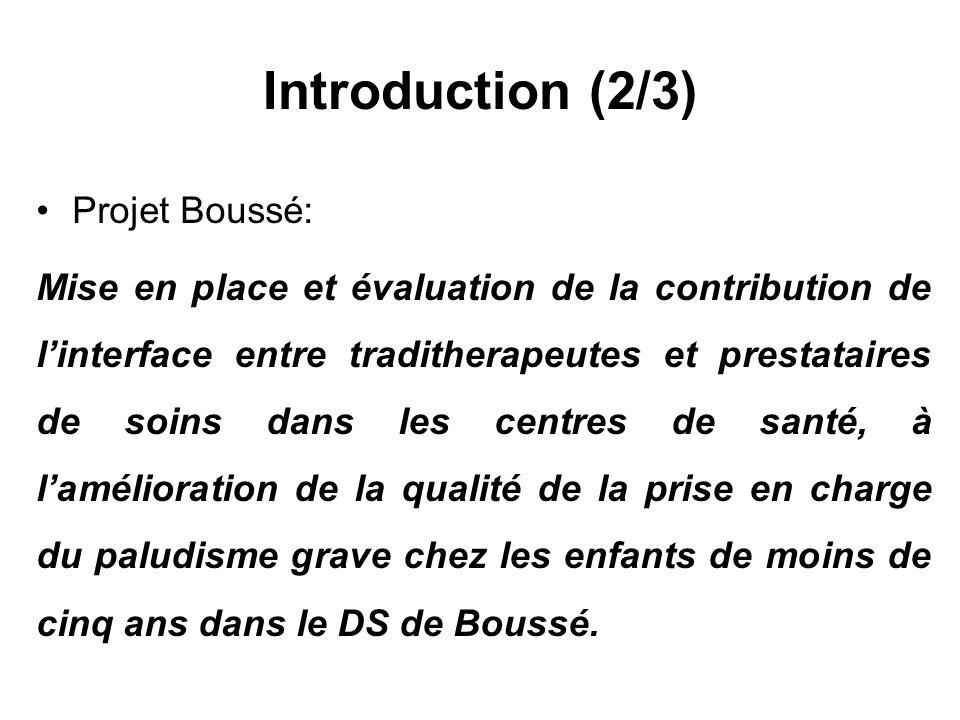Introduction (2/3) Projet Boussé: Mise en place et évaluation de la contribution de linterface entre traditherapeutes et prestataires de soins dans le
