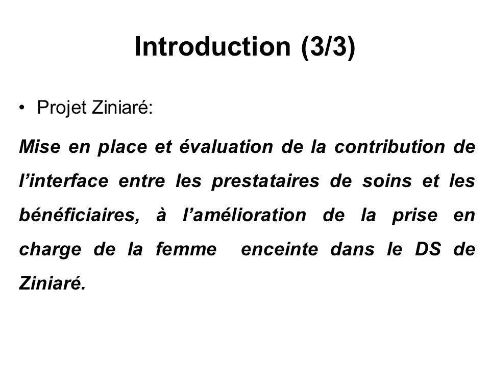 Introduction (3/3) Projet Ziniaré: Mise en place et évaluation de la contribution de linterface entre les prestataires de soins et les bénéficiaires, à lamélioration de la prise en charge de la femme enceinte dans le DS de Ziniaré.