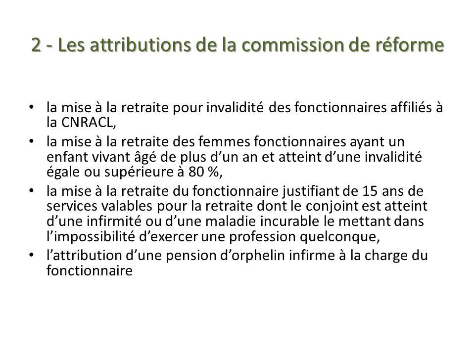 2 - Les attributions de la commission de réforme la mise à la retraite pour invalidité des fonctionnaires affiliés à la CNRACL, la mise à la retraite