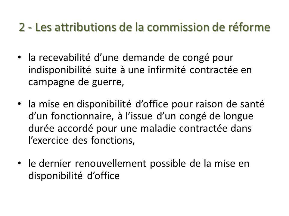 2 - Les attributions de la commission de réforme la recevabilité dune demande de congé pour indisponibilité suite à une infirmité contractée en campag
