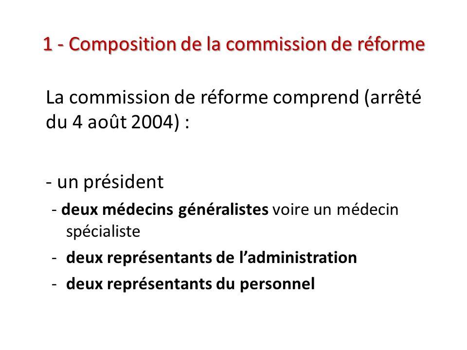 1 - Composition de la commission de réforme La commission de réforme comprend (arrêté du 4 août 2004) : - un président - deux médecins généralistes vo