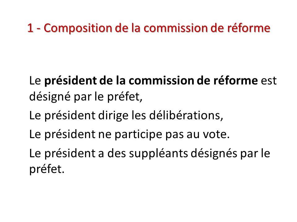 1 - Composition de la commission de réforme Le président de la commission de réforme est désigné par le préfet, Le président dirige les délibérations,
