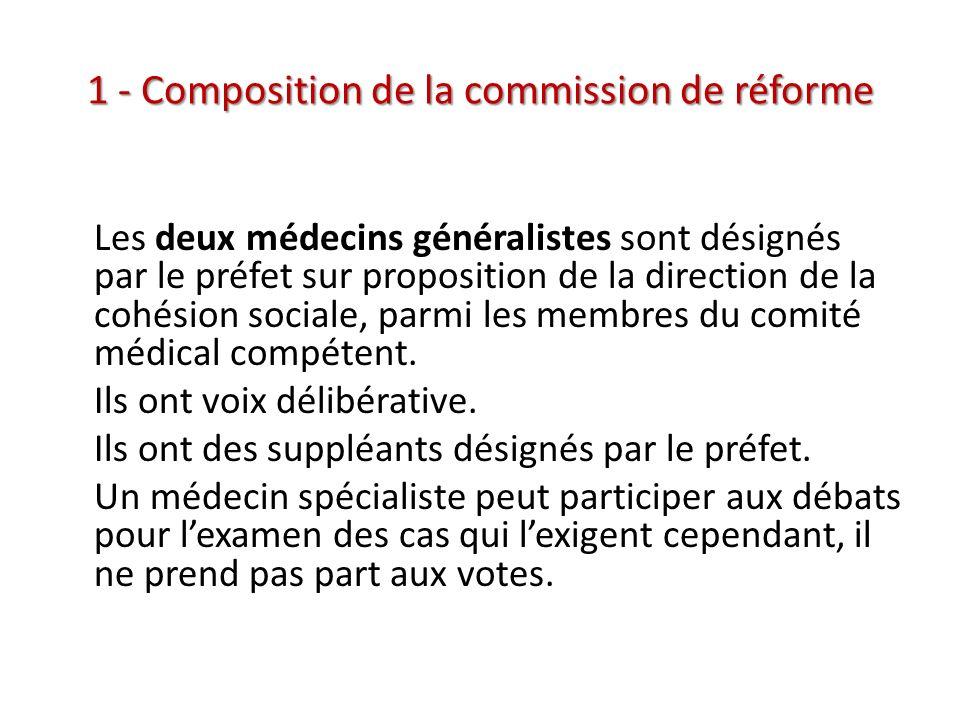 1 - Composition de la commission de réforme Les deux médecins généralistes sont désignés par le préfet sur proposition de la direction de la cohésion