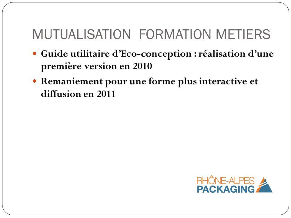 MUTUALISATION FORMATION METIERS Guide utilitaire dEco-conception : réalisation dune première version en 2010 Remaniement pour une forme plus interacti