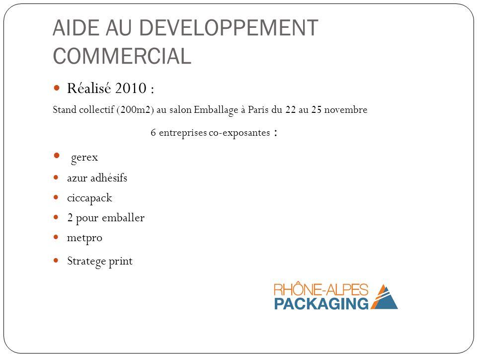 AIDE AU DEVELOPPEMENT COMMERCIAL Réalisé 2010 : Stand collectif (200m2) au salon Emballage à Paris du 22 au 25 novembre 6 entreprises co-exposantes :