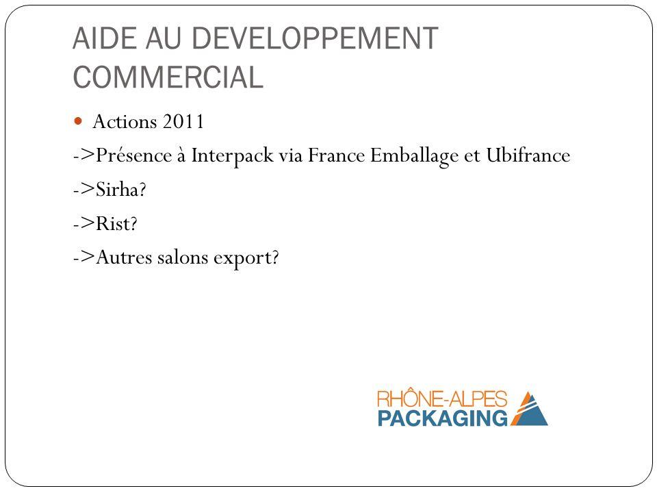 AIDE AU DEVELOPPEMENT COMMERCIAL Actions 2011 ->Présence à Interpack via France Emballage et Ubifrance ->Sirha? ->Rist? ->Autres salons export?