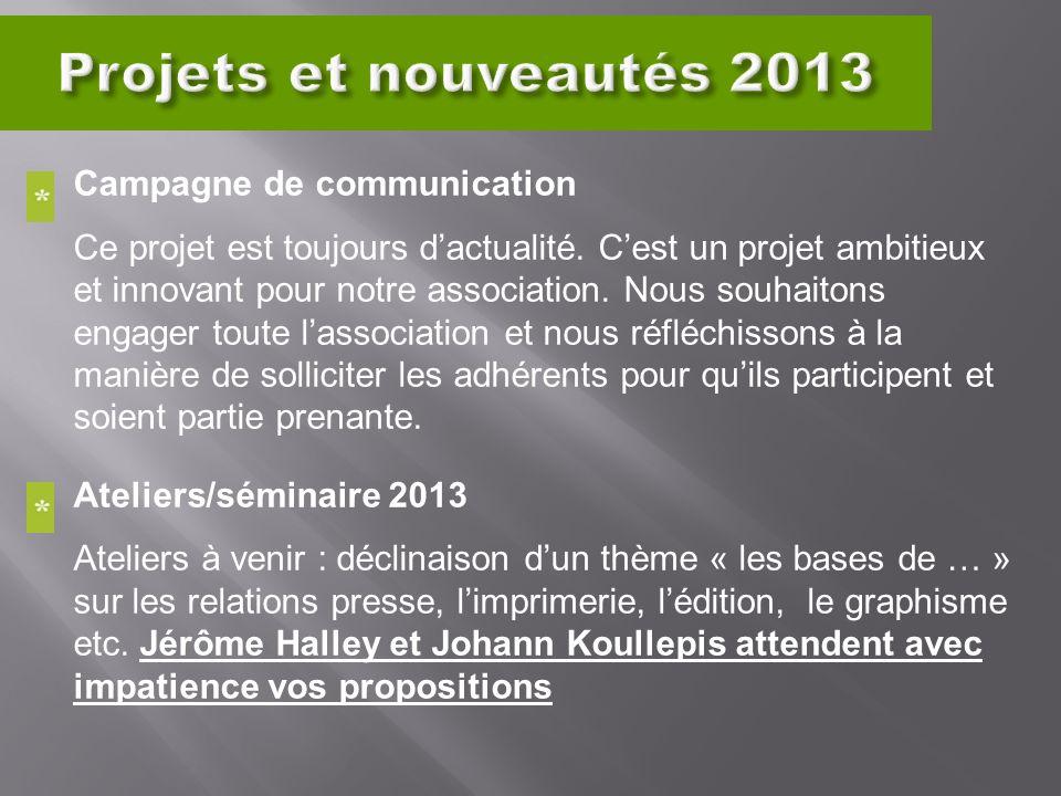 Campagne de communication Ce projet est toujours dactualité. Cest un projet ambitieux et innovant pour notre association. Nous souhaitons engager tout