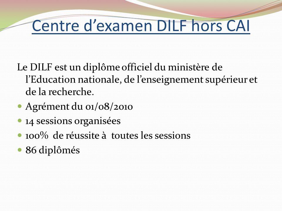 Centre dexamen DILF hors CAI Le DILF est un diplôme officiel du ministère de lEducation nationale, de lenseignement supérieur et de la recherche.