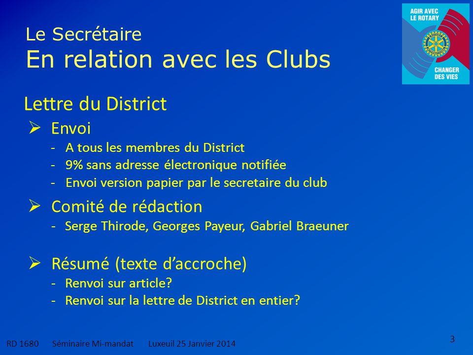 3 Le Secrétaire En relation avec les Clubs Lettre du District Envoi -A tous les membres du District -9% sans adresse électronique notifiée -Envoi vers