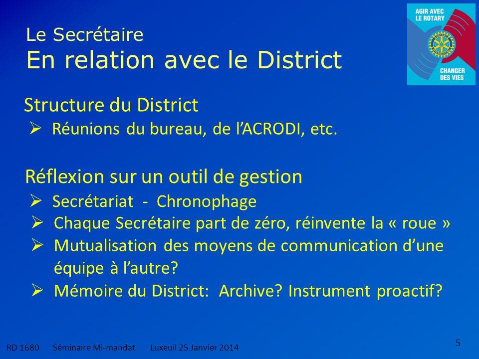 5 Le Secrétaire En relation avec le District Structure du District RD 1680 Séminaire Mi-mandatLuxeuil 25 Janvier 2014 Réflexion sur un outil de gestion Réunions du bureau, de lACRODI, etc.