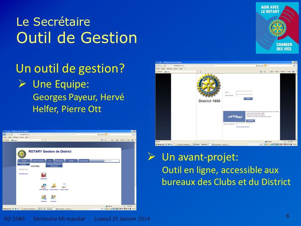 6 Le Secrétaire Outil de Gestion RD 1680 Séminaire Mi-mandatLuxeuil 25 Janvier 2014 Un outil de gestion.