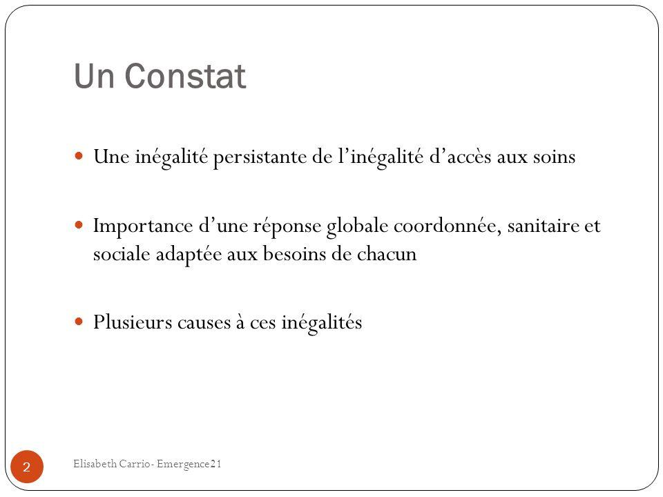 Un Constat Une inégalité persistante de linégalité daccès aux soins Importance dune réponse globale coordonnée, sanitaire et sociale adaptée aux besoi