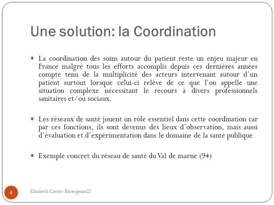Une solution: la Coordination La coordination des soins autour du patient reste un enjeu majeur en France malgré tous les efforts accomplis depuis ces