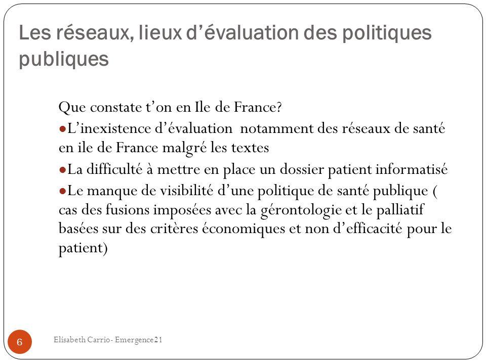 Les réseaux, lieux dévaluation des politiques publiques Que constate ton en Ile de France? Linexistence dévaluation notamment des réseaux de santé en
