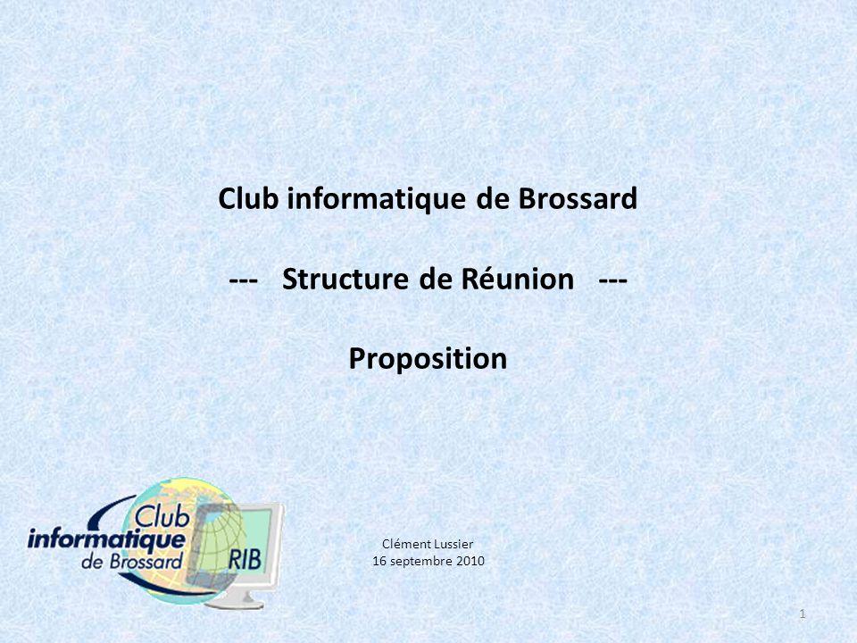 Club informatique de Brossard --- Structure de Réunion --- Proposition Clément Lussier 16 septembre 2010 1
