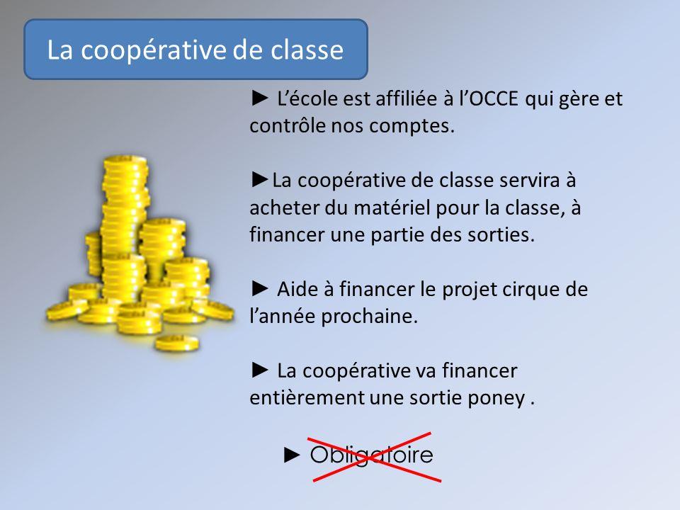 La coopérative de classe Obligatoire Lécole est affiliée à lOCCE qui gère et contrôle nos comptes. La coopérative de classe servira à acheter du matér
